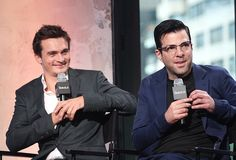 Rupert Friend and Zachary Quinto attend AOL Build Presents 'Hitman Agent 47' at AOL Studios In New York on August 13 2015 in New York City