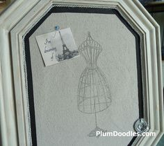 #DIY canvas bulletin board with blinged-up pins. From @Sheila S.P. G @ Plum Doodles