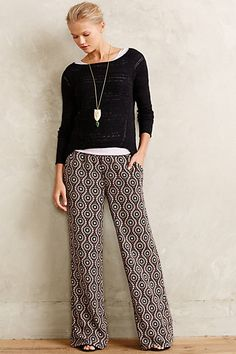Wide print pants with layered tops makes for a fun black and white get-up! #anthroregistry