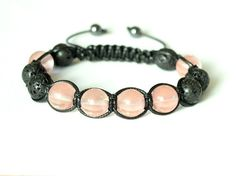 Cherry Quartz and Black Lava Bracelet Womens by CITBhandmade