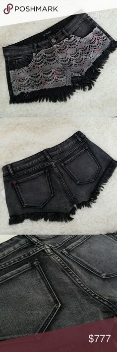 BLACK DENIM CROCHET DETAIL SHORTS Brand new from our Boutique  On trend for the season these black denim jean shorts has a fab detail on the front, gray Tie-Dye crochet detail on the front.  True to size Buy in the size you normally wear . Shorts Jean Shorts