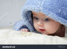 Cute Baby Looking Out From Under Blanket Stock Photo 90635998 ...