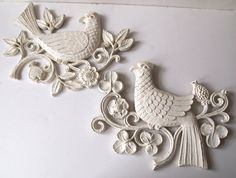 Set of Two Syroco Bird Wall Hangings Painted Cottage White Shabby Cottage Chic Home Wall Decor. $28.00, via Etsy.