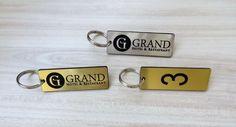 Set of 10 Hotel personalised key tags with logo, keyrings, clubs, door, fob #GTLaser