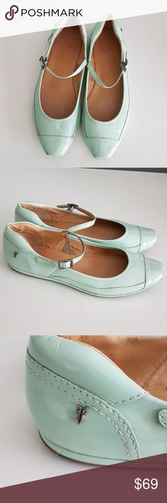 """FRYE """"CLEMENTINE SPORTY"""" Mary Jane flats Love these shoes. They are super soft and comfortable. Cushioned insoles. Nice mint color.  Soles with traction. Beautiful topstitching. FRYE silver trademark on the back side. Please note a small smudge on the front of the right shoe. Frye Shoes Flats & Loafers"""