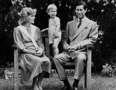 Prince William joins his parents, Princess Diana and Prince Charles, on a park bench in 1984.