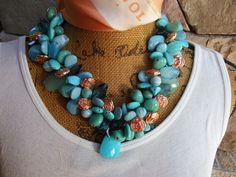 Please Pin if you like this new design!   Add this Beauty to your Spring LOOK!   Check out my 20% OFF Sale!!!! Use Code: 20OFF  Turquoise Statement Necklace, Statement Collar, Bib Statement, Handmade Necklace