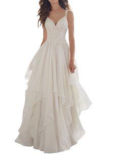Mella Wedding Dress 2017 for Bride A-Line V-neck Chiffon Sleeveless at Amazon Women's Clothing store: