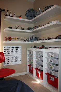Clay's Lego Corner Creation Station: made using Ikea shelves and drawers. I laminated labels and stuck them on the drawers with glue dots.