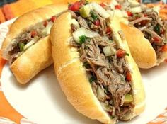 """This is a very common recipe around here – carne louca, which means """"crazy beef"""". It was easy to stumble upon these sandwiches in birthda. No Salt Recipes, Cooking Recipes, Food Truck, Hot Dog Buns, Finger Foods, Love Food, Food Porn, Food And Drink, Pizza"""