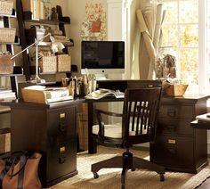 bedford corner desk set; pottery barn, espresso