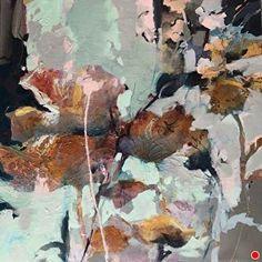 Triumphant-abstract botanical by Joan Fullerton Acrylic ~ 24 x 24