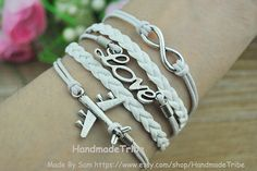 Aircraft Bracelet LOVE Bracelet Infinity Wish by HandmadeTribe, $4.50 Stylish handmade bracelet,the best gift of friendship.