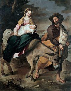 The Flight into Egypt - Bartolome Esteban Murillo.  c.1645.  Oil on canvas.  263 x 210 cm.  Musei di Strada Nuova, Genoa, Italy.