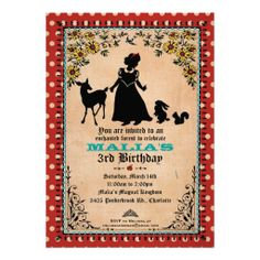 Shop Princess Party Invitation (for Twins or 2 Kids) created by bnuteproductions. Personalize it with photos & text or purchase as is! Princess Party Invitations, Kids Birthday Party Invitations, Birthday Ideas, Storybook Party, Snow White Birthday, Twin Birthday, Birthday Bash, Vintage Party, Vintage Type