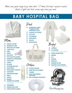 What to pack in your baby hospital bag – printable checklist Was Sie in Ihre Baby-Krankenhaustasche packen sollten – druckbare Checkliste Getting Ready For Baby, Preparing For Baby, Baby On The Way, Baby Kind, Mom Baby, Baby Boy, Baby Girl Diaper Bags, Best Diaper Bag, Carters Baby Girl