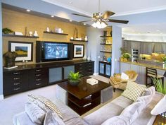 Contemporary Living-rooms from Troy Beasley on HGTV/Love the shelving