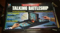 Electronic Talking Battleship game - Made by Milton Bradley - item 4750 - dated 1989 - Requires 4 AA batteries (not included). Electronic Battleship, Battleship Board, Vintage Board Games, Milton Bradley, Different Games, Childhood Days, State Of The Union, Group Games, Old Games