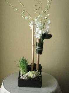 Low Ceramic Square w/ mini Cymbidiums, Dendrobiums Orchid Centerpieces, Orchids, Vase, Ceramics, Mini, Flowers, Wedding, Decor, Ceramica