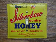 Country Kitchen Light Switch Plate Cover Made From Vintage Bee Silverbow Honey Tins by tincansally