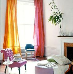 I really want to do curtains like this. I'd like to try variegating colors across many windows.