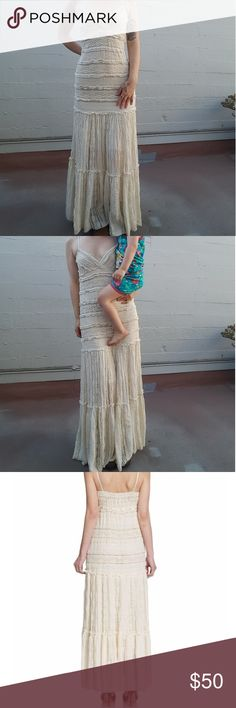 Willow & Clay camisole lace maxi dress Excellent condition! No flaws except for tags being cut out. Re Posh since it does not fit me. Cover photo actual dress (measurements in comments!). Would fit a M/L with a C cup or larger. No tags so I'm guessing on size here.  Super boho-esque and can be worn in warm or cooler weather with a jacket. It's very cozy and has some weight to it. Last photo is outfit pairing inspo! Willow & Clay Dresses Maxi