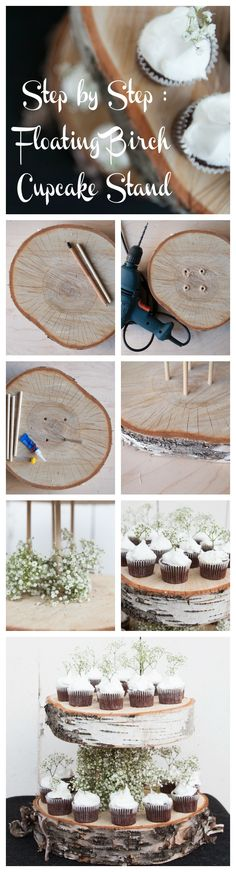 DIY Floating Birch Cake Stand - Rustic Wedding Chic Step by step directions Fall Wedding, Diy Wedding, Dream Wedding, Wedding Cakes, Wedding Ideas, Wedding Rustic, Rustic Wedding Cupcakes, Rustic Weddings, Vintage Weddings