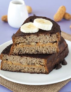 Peanut Butter and Banana Stuffed Chocolate French Toast - The Breakfast Drama Queen French Toast Sandwich, Banana Sandwich, Chocolate French Toast, Cheesecake Day, Waffle Day, Delicious Breakfast Recipes, Vegan Recipes, Vegan Food, Pancakes And Waffles