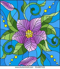 Illustration in stained glass style with abstract purple flower, buds and leaves on a blue background