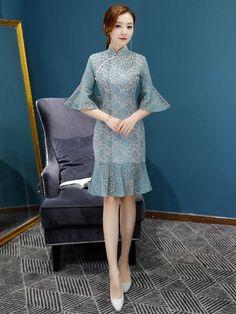 Lace Flared Sleeves Falbala Mermaid Short Cheongsam – uoozee Chinese Dress Cheongsam, Cheongsam Modern, I Dress, Party Dress, Dinner Gowns, Batik Dress, Ao Dai, Fashion Fabric, Designer Dresses