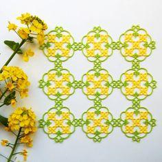 "211 Likes, 19 Comments - aki (@aki_tatting) on Instagram: ""菜の花のドイリー work:2016 pattern:original thread:cotton(OLYMPUS#40/col:541(yellow),228(yellow green))…"""