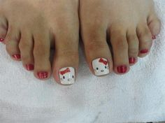 Nail art from the NAILS Magazine Nail Art Gallery, hand-painted, hello kitty nail design, red, Girls Nail Designs, Latest Nail Designs, Toe Nail Designs, Nails Design, Love Nails, Fun Nails, Pretty Nails, Pretty Toes, Pedicure Nail Art