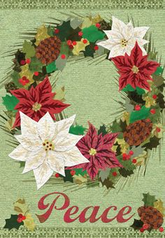 Accent Flag   Poinsettia Wreath Decorative Flag At Garden House Flags