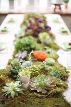 Moss & succulents table runner.