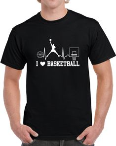 I Love Basketball  T Shirt I Love Basketball, Gifts For Friends, Cardio, Shirt Style, Baseball, My Love, Sports, Mens Tops, How To Make