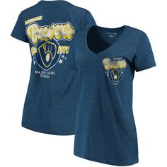 Milwaukee Brewers 5th & Ocean by New Era Women's Cooperstown Collection Tri-Blend V-Neck T-Shirt - Heathered Royal