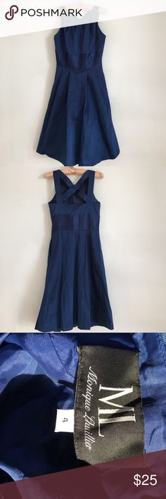 Blue dress with cris cross back Blue dress by Monique Lhuillier. Brand new never worn. Brand used for exposure kate spade Dresses
