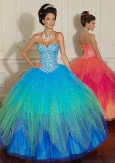 Vestidos de xv azul turquesa