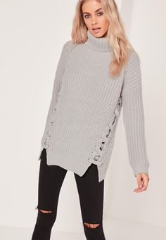 Missguided - Grey Chunky Lace Up Side Turtleneck Sweater