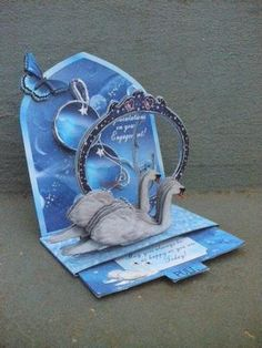 Card Gallery - Pop Up Slider Card Kit Swan 'Dangler' Engagement/Anniversary