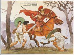 Antesignani in combat with Achean Cavalry, Achean War, 146 BC: 1,3: Antesignani, 2: Achean League Cavalryman