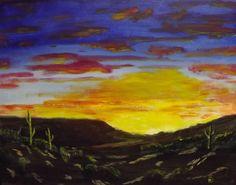 """Desert Sunset""  20 x 16 acrylics on canvas panel."