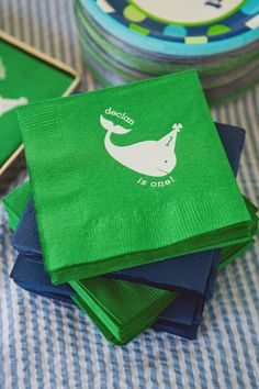 Adorable #whale cocktail napkins for a preppy first #birthday I Custom by Nico and Lala