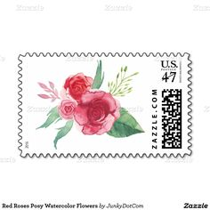 Red Roses Posy Watercolor Flowers Stamp @zazzle April 20 2x