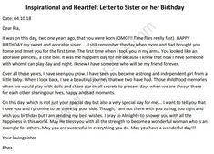 A warm happy birthday letter to sister from brother. Use the heartfelt birthday letter to lovely sister on her birthday to wish her in a special way. Birthday Message To Sister, Birthday Letters To Boyfriend, Happy Birthday Wishes Sister, Little Sister Birthday, Message For Sister, Happy Birthday Quotes For Friends, Birthday Wishes Quotes, Letter To Sister, Letter To Best Friend