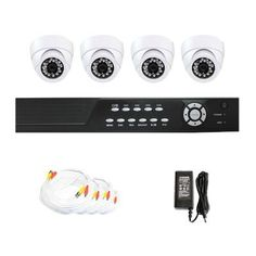 "Complete 4 Channel CCTV Network DVR (500G Hard Drive) Surveillance Video System Package with (4) Pack of 420 TV lines 1/4"" Sharp CCD Indoor Security Dome Cameras by Gw. $420.00. Package Includes:      GW2544SV-N DVR with 500G HDD;     Remote Control and mouse;     4 x GW721W -1/4"" SHARP CCD  Camera;     1 x GW125CAW: 125 feet pre-made cable BNC;     1 x GW100CAW: 100 feet pre-made cable BNC;       2 x GW60CAW: 60 feet pre-made cable BNC;     1 x GW12V2A:12V2A Powe..."