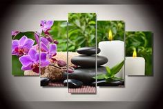 Framed Canvas Print Pink Orchid Spa Massage Wall Art Picture Home Decor Poster