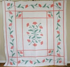 Beautiful Antique c1920s Graceful Poppy Applique Quilt Densely Quilted | eBay Vintageblessings