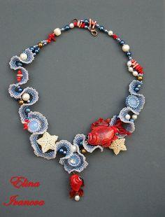 Nautical marine necklace fish necklace seastar seawawe
