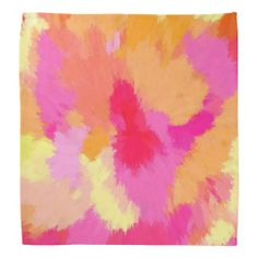 """""""Pink, Orange and Yellow Watercolor"""" Bandana by Celeste of Khoncepts.com  $17.95"""